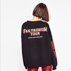 ZARA TRF fan fashion tour graphic sweatshirt